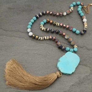 Faux Turquoise Stone with Tassel Necklace